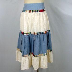 Duckhead tiered patchwork circle skirt 12 denim